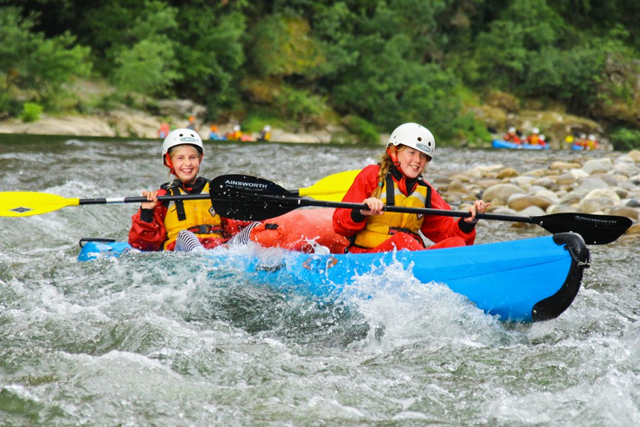 River rapids kayaking ardeche