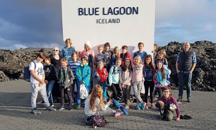 Students outside Blue Lagoon Iceland