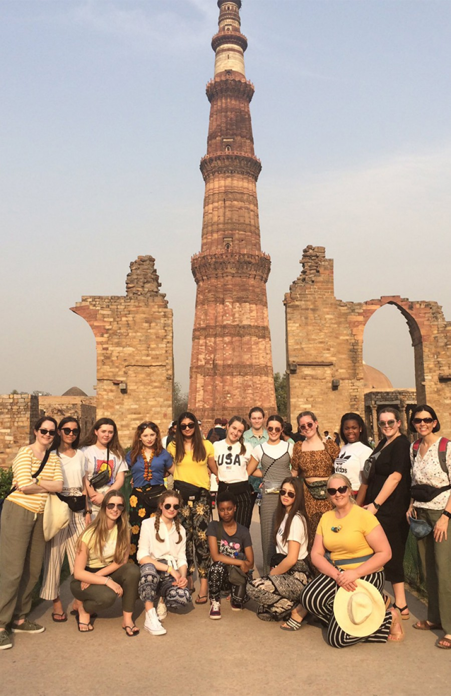 Group outside Qutub Minar India