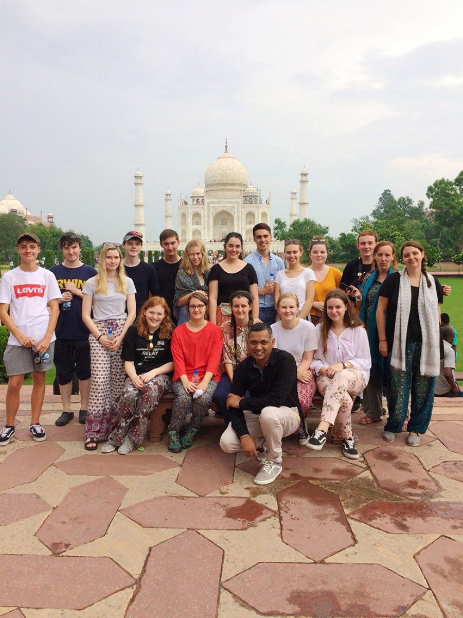 Outside the Taj Mahal
