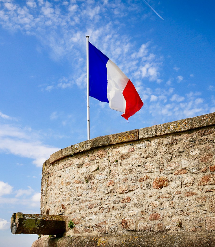 French flag at Mont Saint Michel lookout