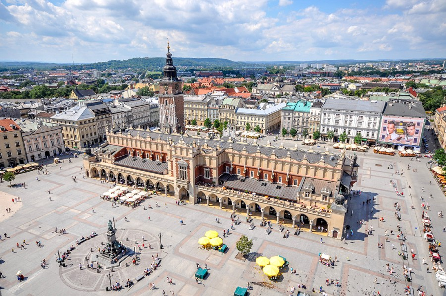 Krakow main square from above