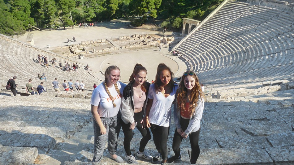 Students at Greek theatre