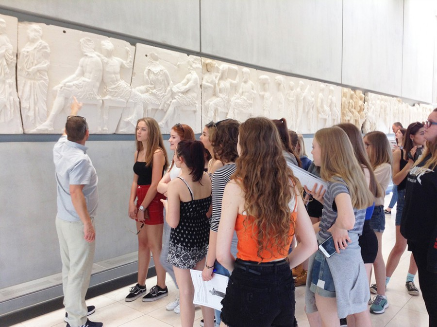Students with tour guide Greece museum